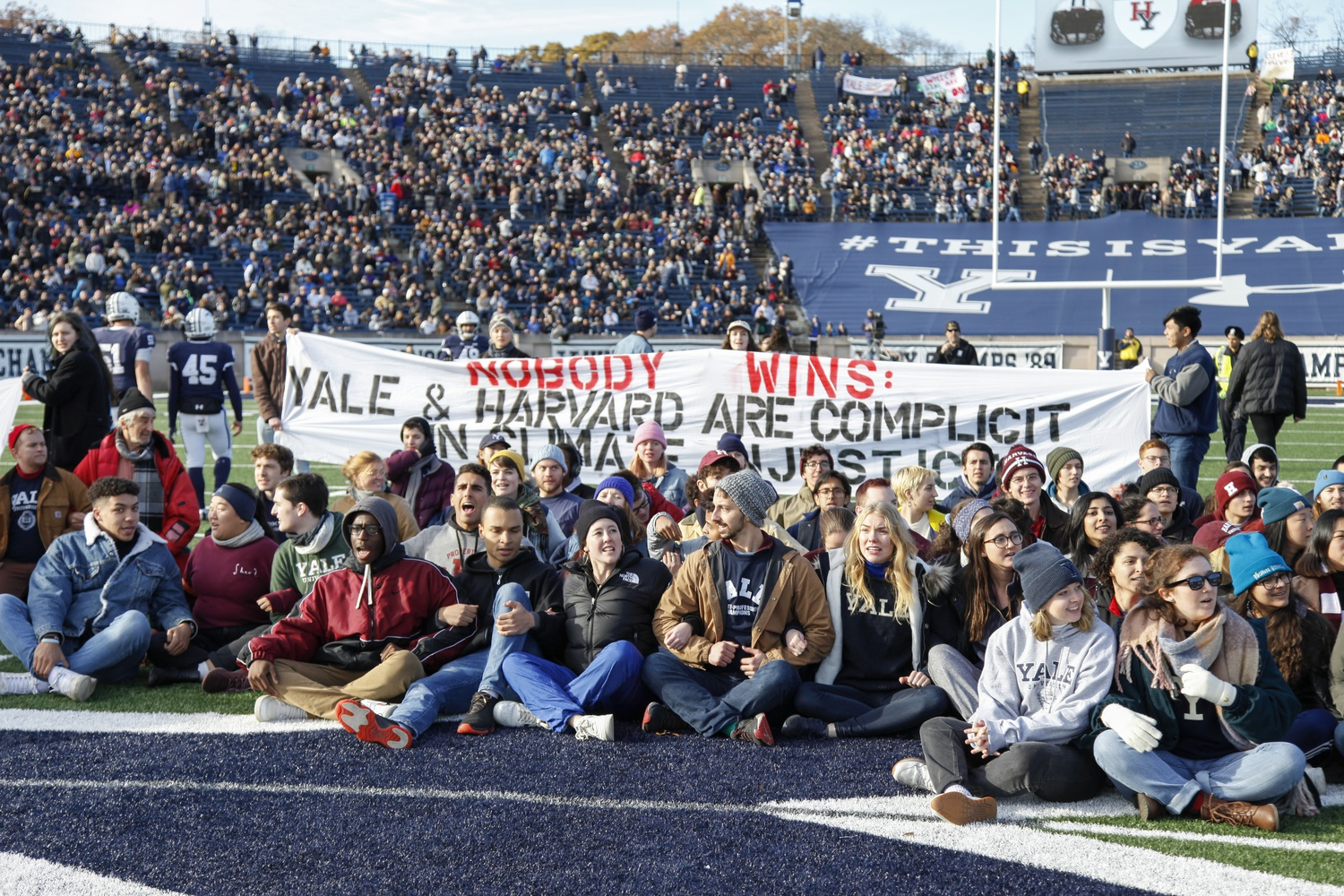 Forty-two protesters were arrested at the demonstration during the Harvard-Yale game Saturday. Hundreds of people participated in the protest, which called on Harvard and Yale to divest their endowments from fossil fuels and Puerto Rican debt.