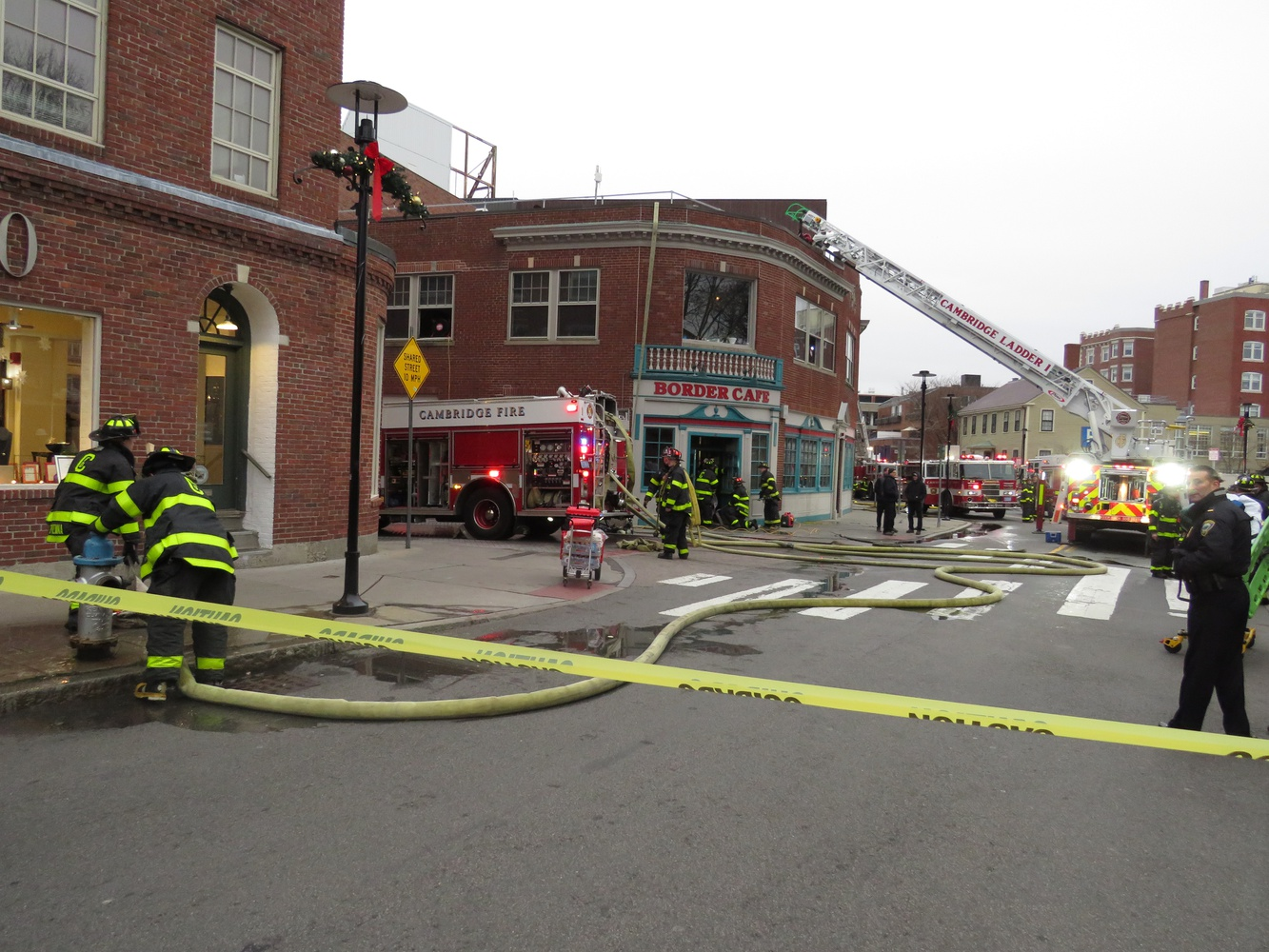 A fire broke out in the building that houses Border Cafe and Harvard Global Health Institute Sunday afternoon.