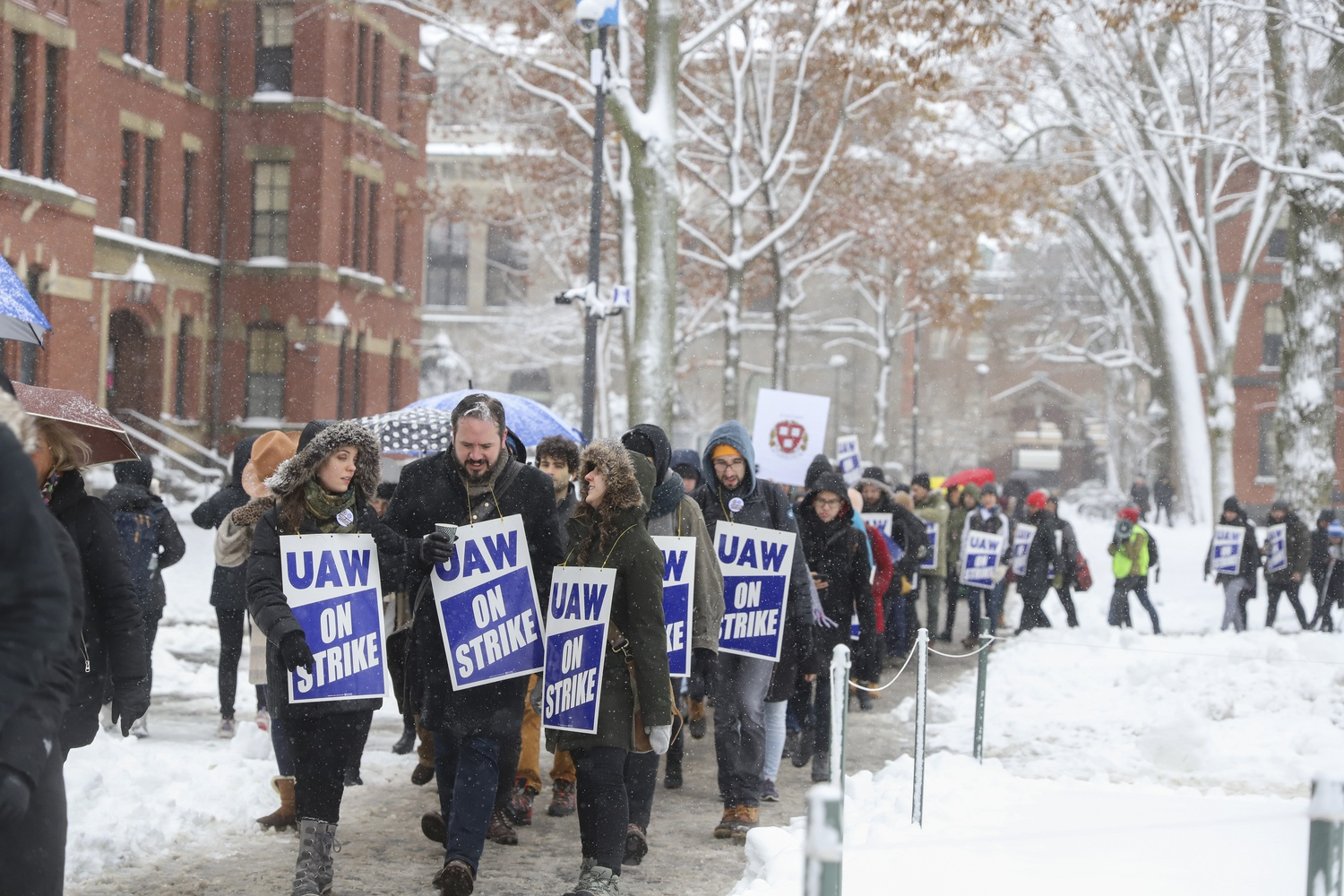 Graduate students brave the snowfall and freezing temperatures as they march through the Yard on Tuesday morning. The first day of the strike began with a walkout at 10:30 a.m., and the protestors numbered in the hundreds at their peak.