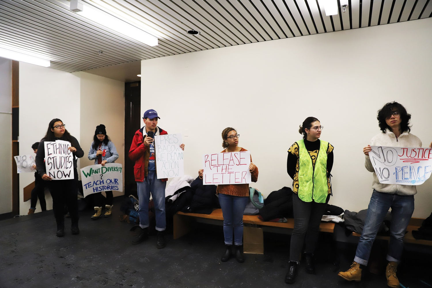Protestors lined the walls of Emerson Hall outside of a faculty meeting on Tuesday after professor Lorgia García Peña was denied tenure.