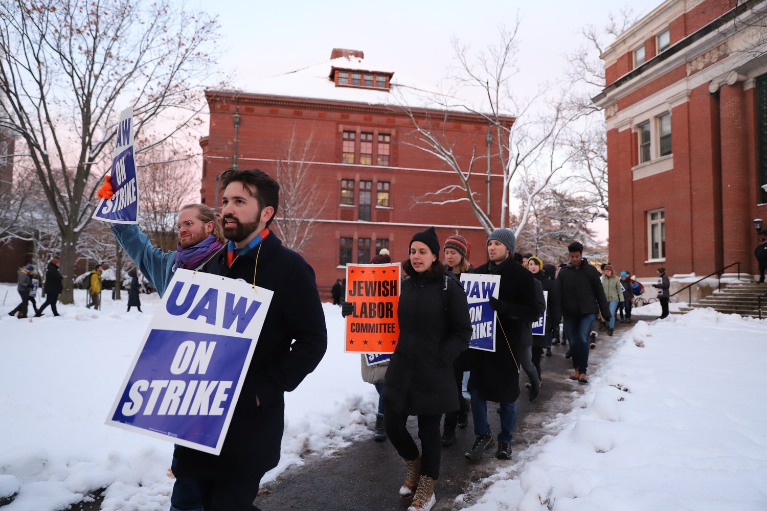 Demonstrators concluded the night protesting a faculty meeting in Emerson Hall. Demonstrators with the union were joined by Harvard affiliates protesting the University's denial of tenure to professor Lorgia García Peña.