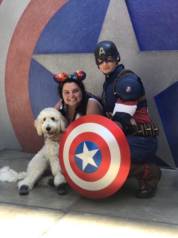 Tiki and Nikki with Captain America!