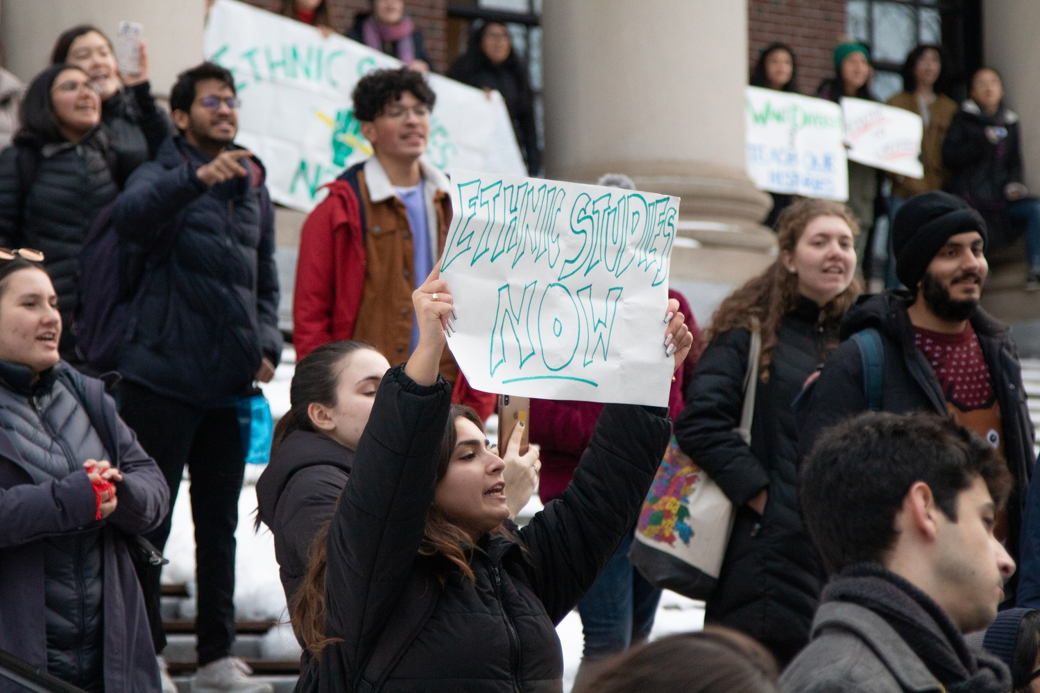 Advocates for a formalized Ethnic Studies program at Harvard rallied in front of Widener Library.