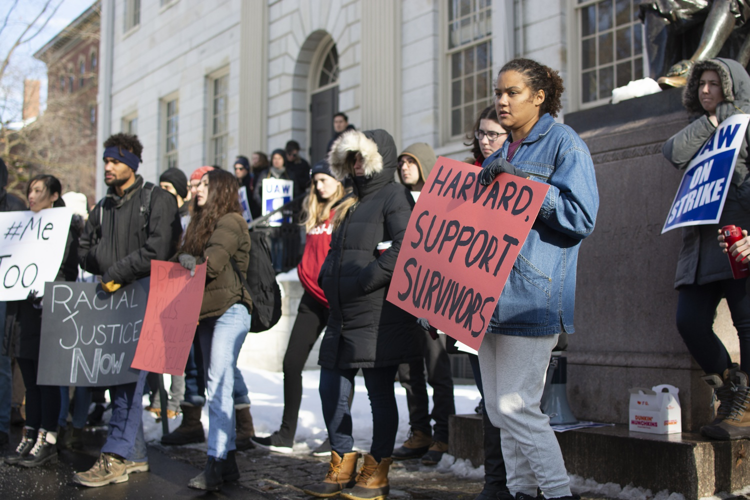 The grad union also held a Time's Up rally Thursday, with protesters calling on Harvard to support affiliates who have experienced sexual harassment or assault.