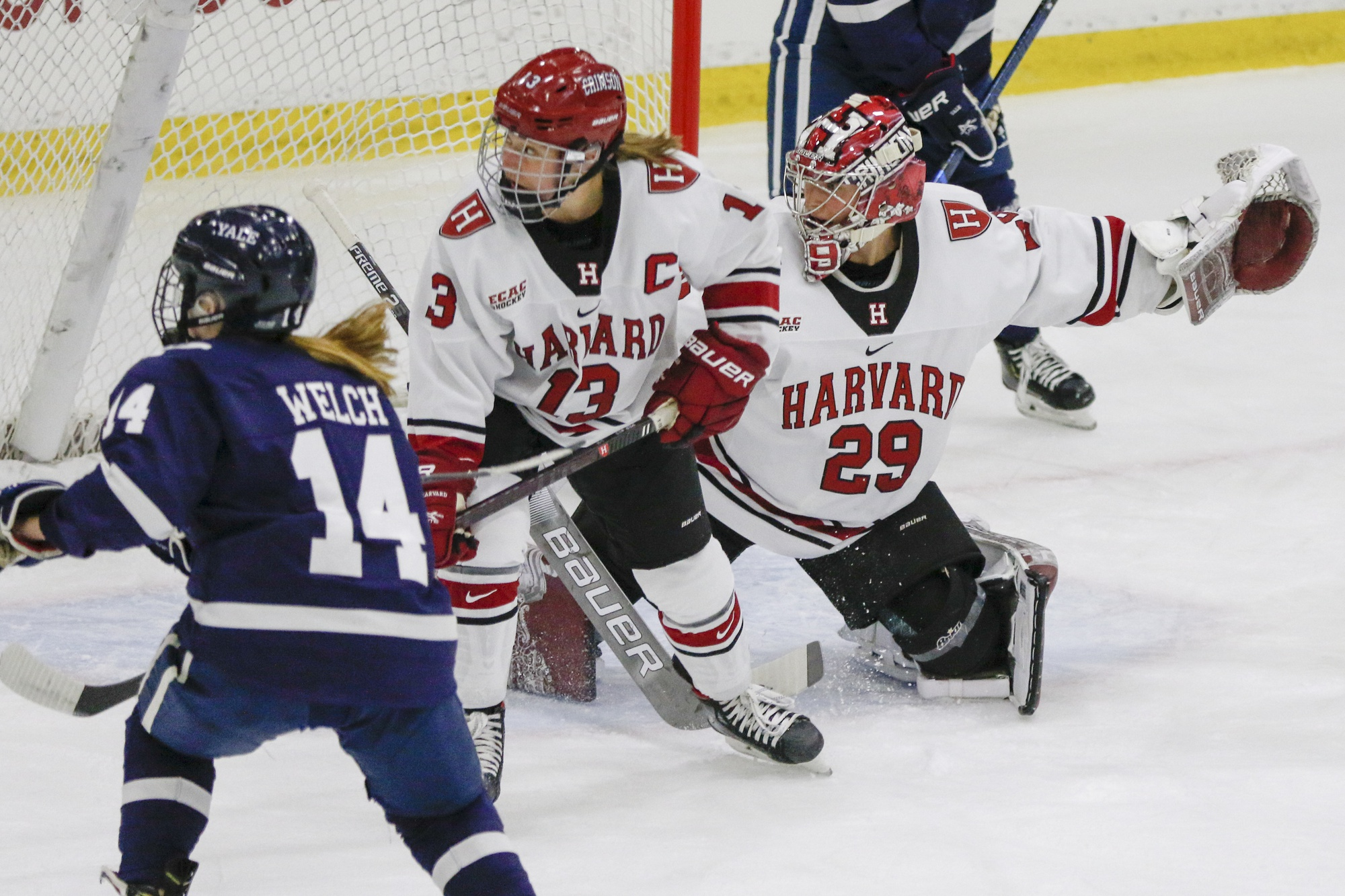 The Harvard defense rallies in front of its own net en route to putting together a 5-2 victory over Yale on Nov. 2.