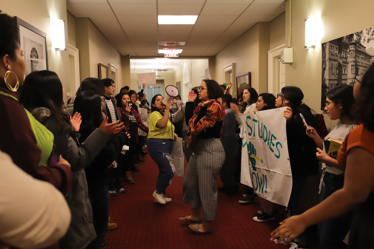 Students in favor of an Ethnic Studies concentration occupy the Harvard College Office of Admissions and Financial Aid on Thursday afternoon.