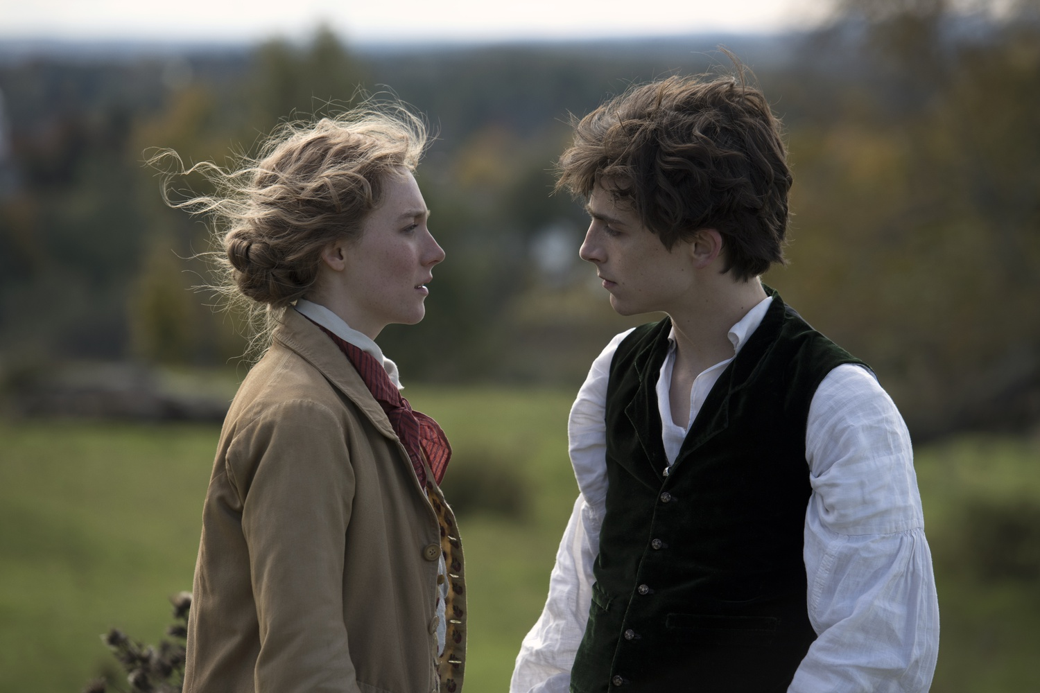 "Saoirse Ronan (left) stars as Jo March and Timothée Chalamet (right) stars as Laurie Laurence in ""Little Women"" (2019), directed by Greta Gerwig."