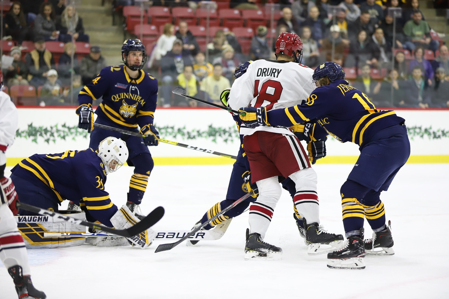 Harvard was without its top-line center on Friday at Quinnipiac. Sophomore Jack Drury was still traveling back from the Czech Republic, where he represented the United States in the World Junior Championship.