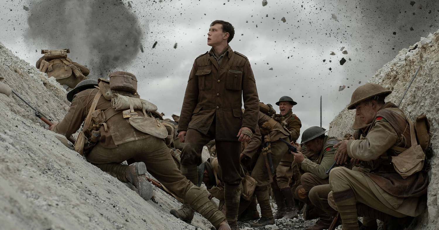 "George MacKay (center) stars as Lance Corporal Will Schofield in ""1917"" (2019), directed by Sam Mendes."