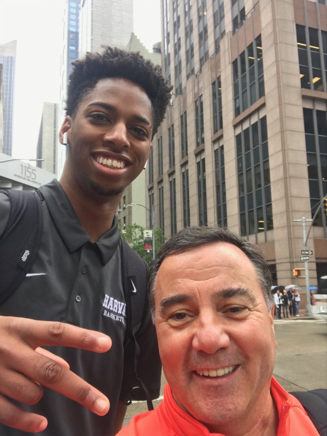 Baker with College Basketball personality Fran Fraschilla in New York City.