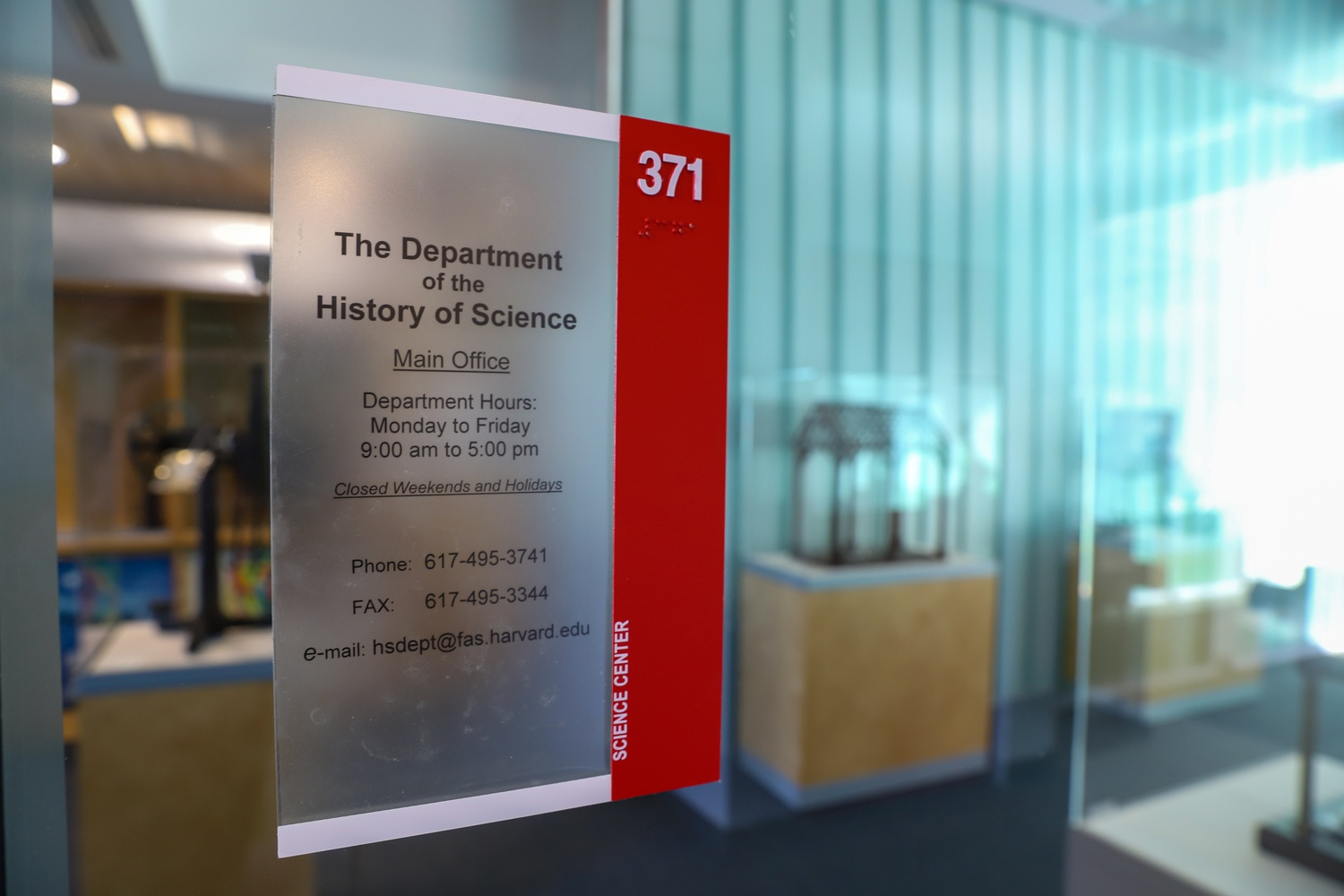 The History of Science Department, located in Science Center Room 371, aims to study science, technology, and medicine in their historical and social contexts.