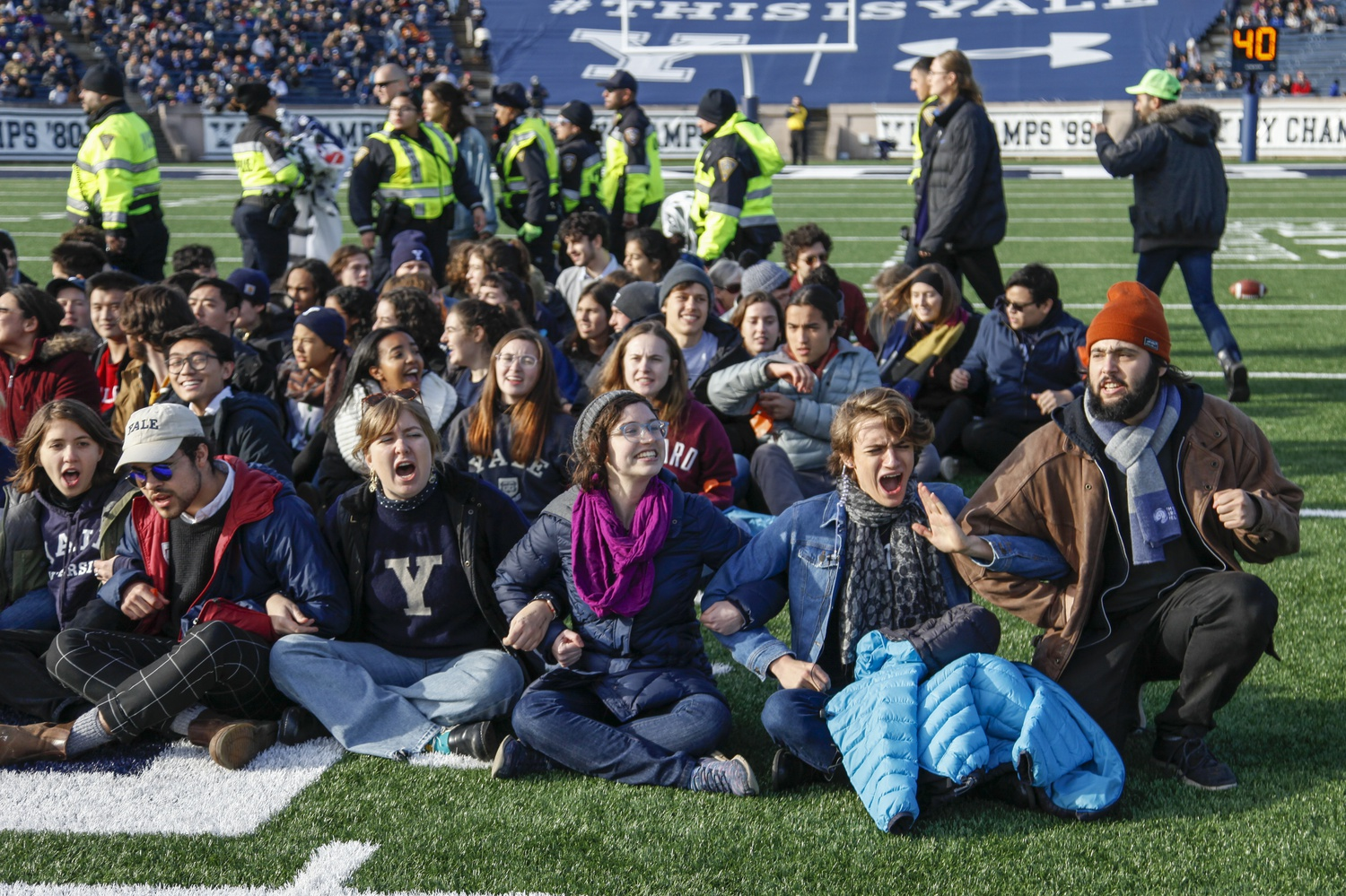 A Connecticut judge dismissed all charges Monday against the ten Harvard students and alumni who participated in the November divestment demonstration at the Harvard-Yale football game.