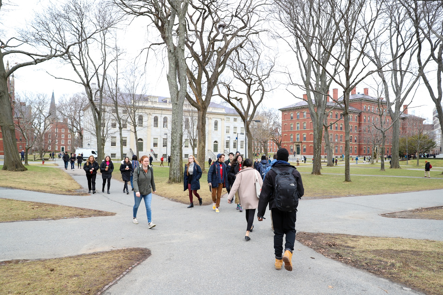 On the first day of the spring semester, undergraduate students briskly walked to class through Tercentenary Theater.