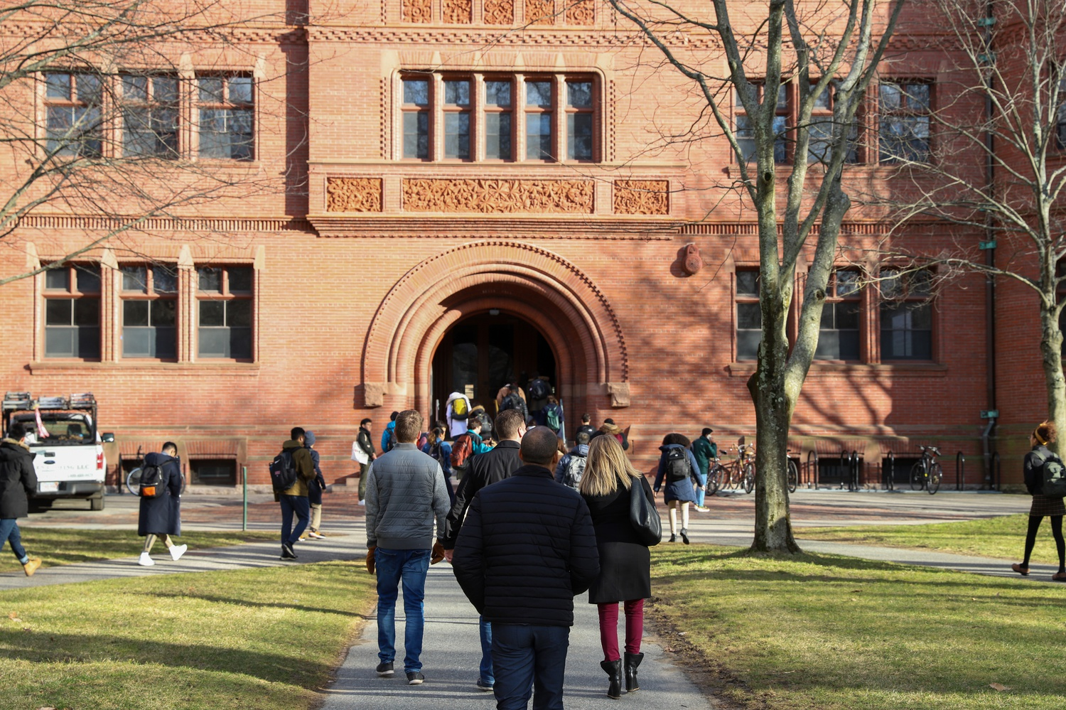Students enter Sever Hall.