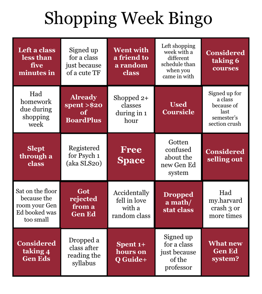 Check out how many of these harrowing shopping week experiences apply to you and see if you get Bingo!