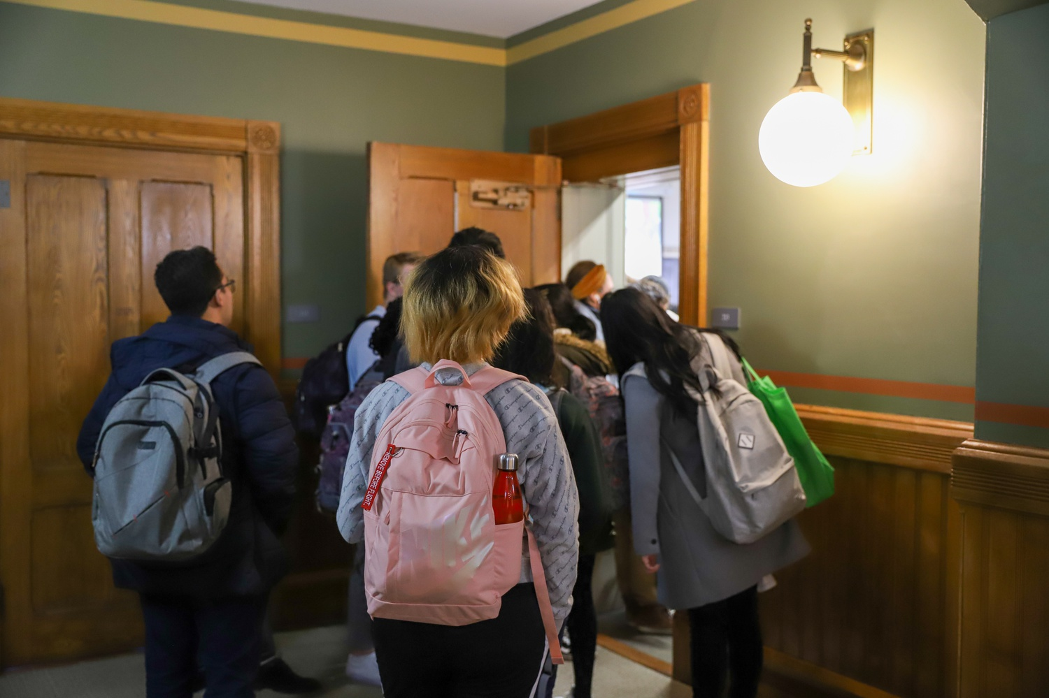 During shopping week, students overflowed into the hallways of Sever Hall, as they attempted to shop GENED 1142.