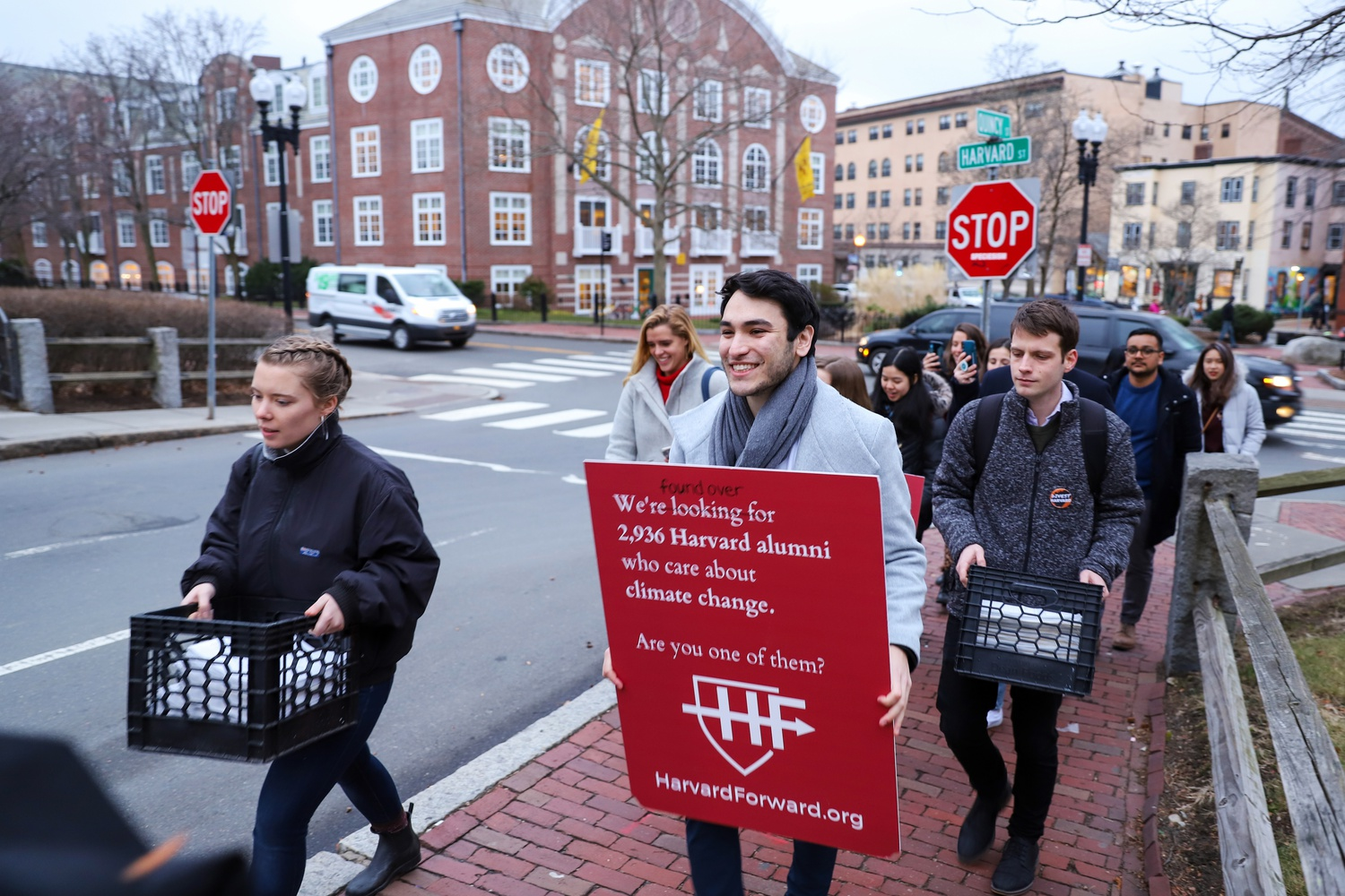Harvard Forward is a group led by students and alumni working to bring attention to climate change and recent alumni representation within Harvard's governance boards.