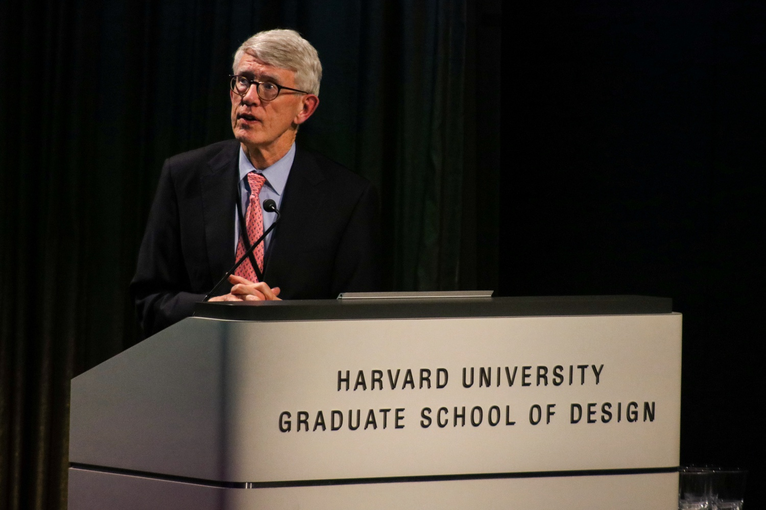 Thomas P. Glynn III, CEO of the Harvard Allston Land Company, speaks at a Graduate School of Design event in February 2020.