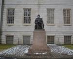 John Harvard Statue with Mask