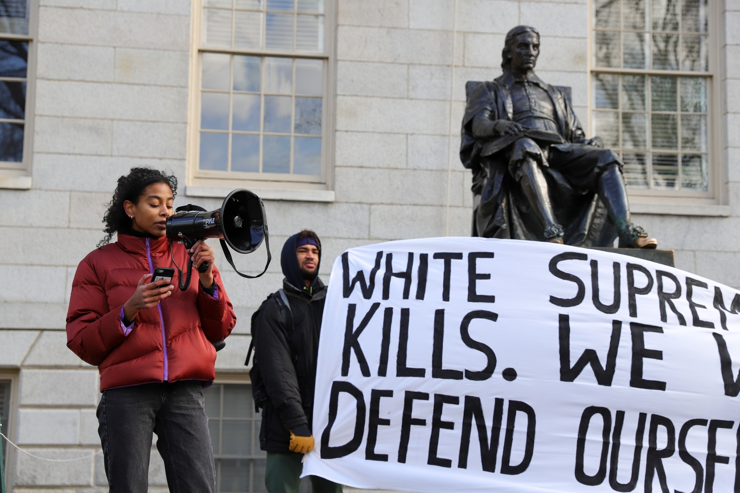 Students organized a rally Saturday afternoon calling for HUPD's abolishment and criticizing its history of sexism and racism.