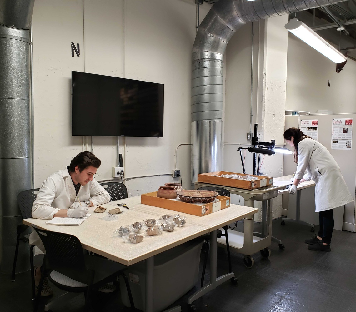 Two collection assistants cataloging the annex of the Peabody museum. © President and Fellows of Harvard College, Peabody Museum of Archaeology and Ethnology