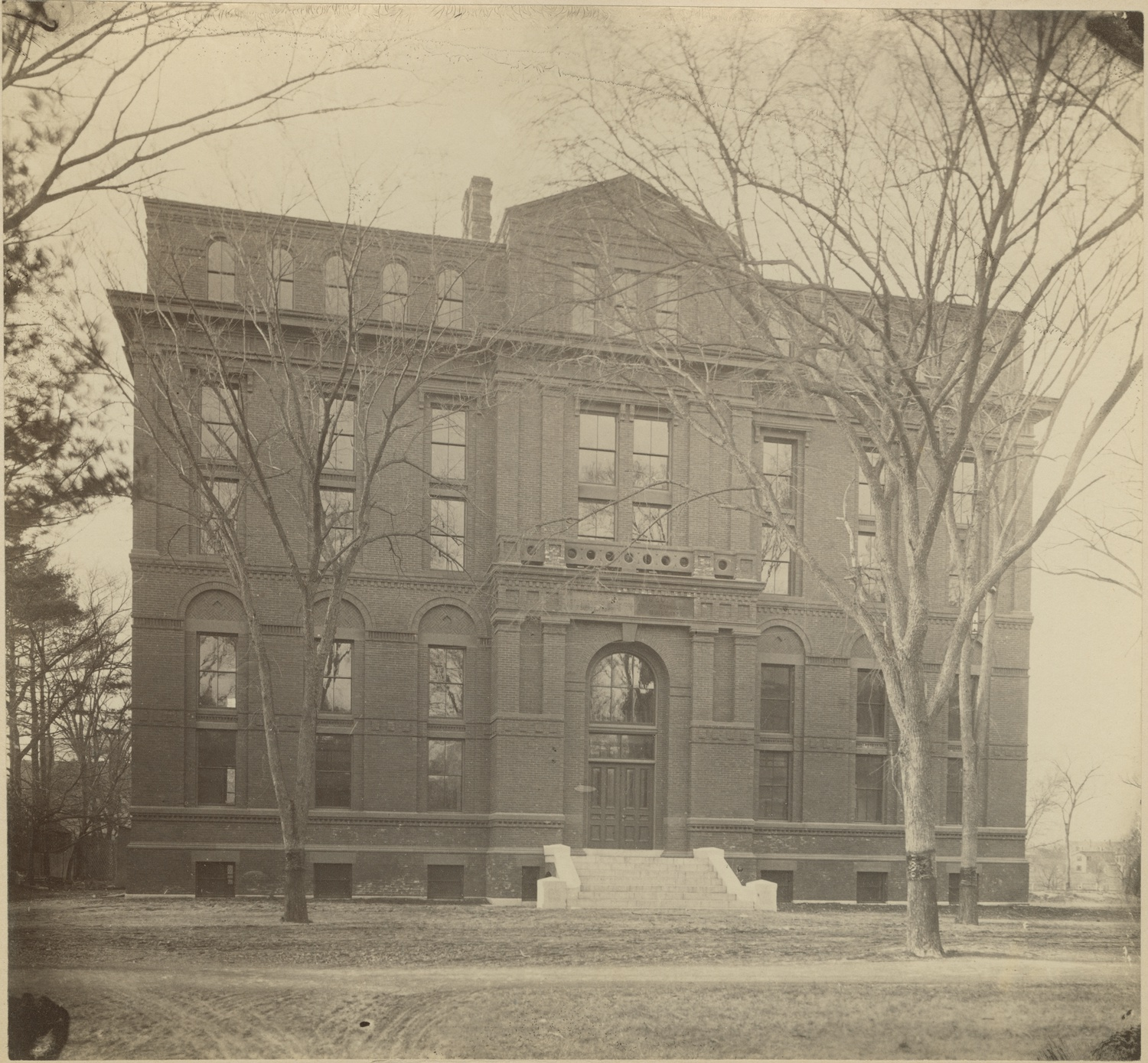 The historic facade of the Peabody museum. © Museum Collection. Courtesy of the Peabody Museum of Archaeology and Ethnology, Harvard University, PM2004.1.326.5