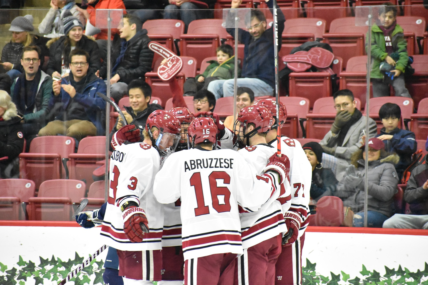 A consistent strength for the Crimson has been its top line. Initially made up of its top three scorers, Dornbach, Drury, and Abruzzese, the coaching staff has taken to replacing Dornbach with rookie John Farinacci when making adjustments.