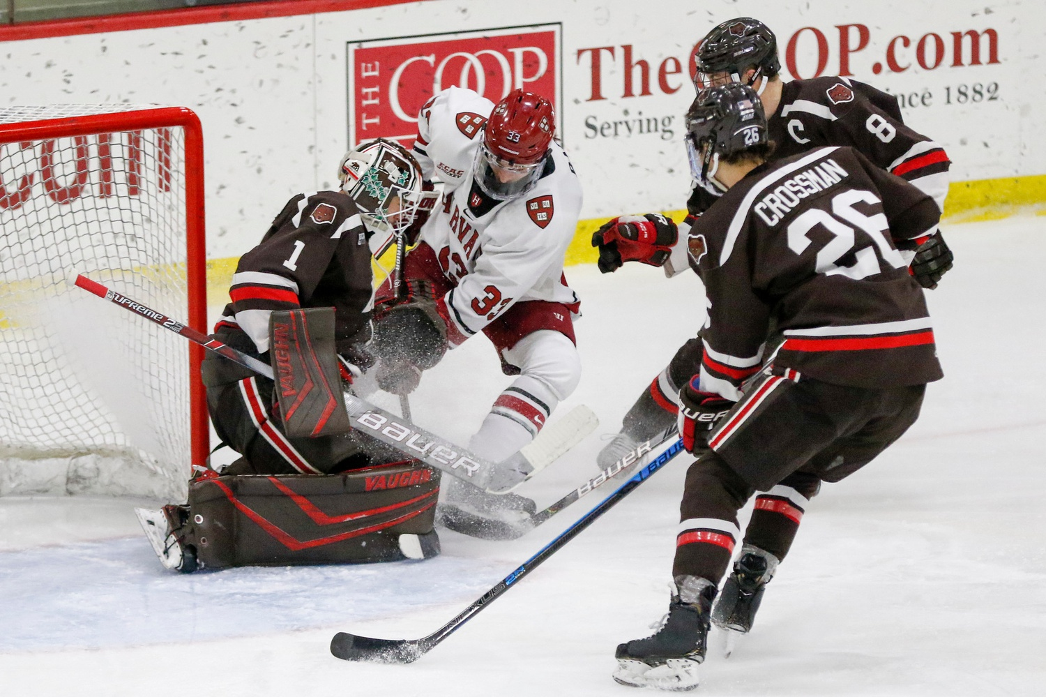 Despite 31 shots against Brown goaltender Gavin Nieto, Harvard broke through only once. A five-minute major penalty proved to be a crucial missed opportunity to cash in for the Crimson.