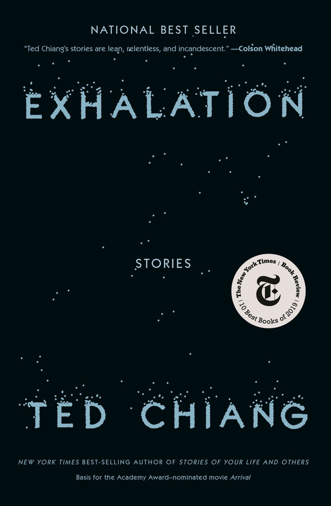 "Cover art of ""Exhalation: Stories."""