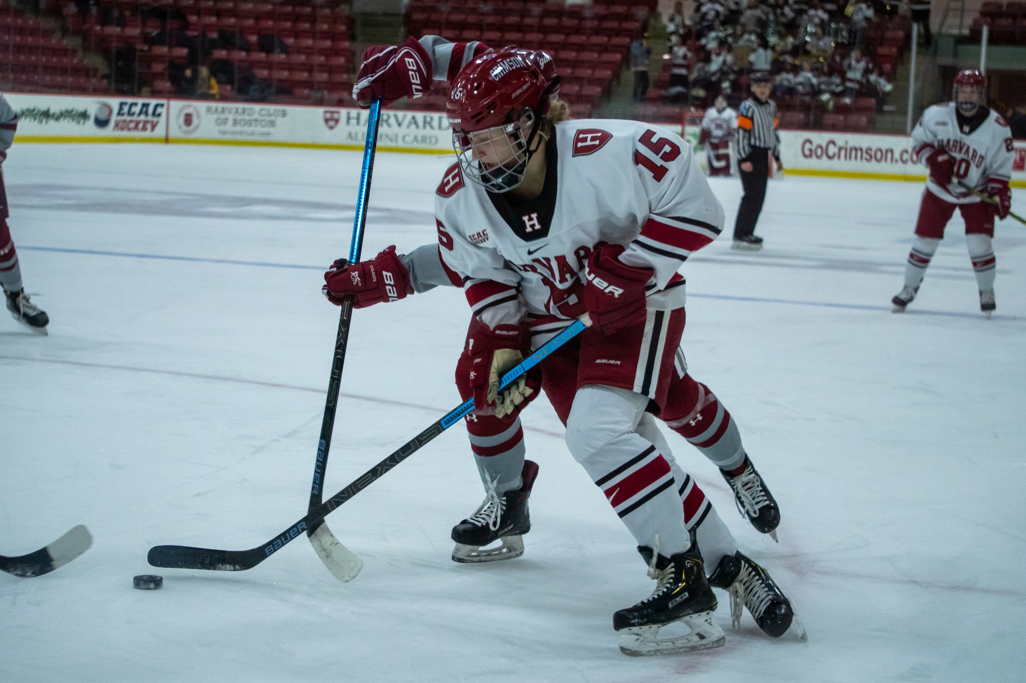 Junior forward Becca Gilmore (above) proved to be a difference maker, leading Harvard with three goals over the two games, including the OT game-winner against Union.