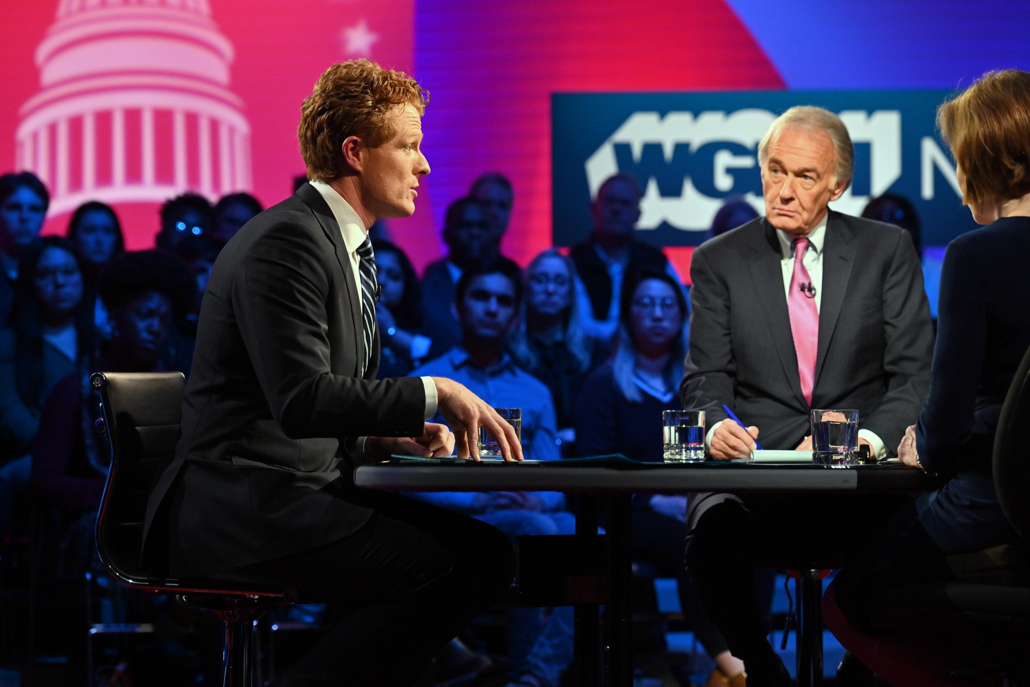 U.S. Representative Joseph P. Kennedy III (D-Mass.) and incumbent Senator Edward J. Markey (D-Mass.) debate at WGBH Tuesday.