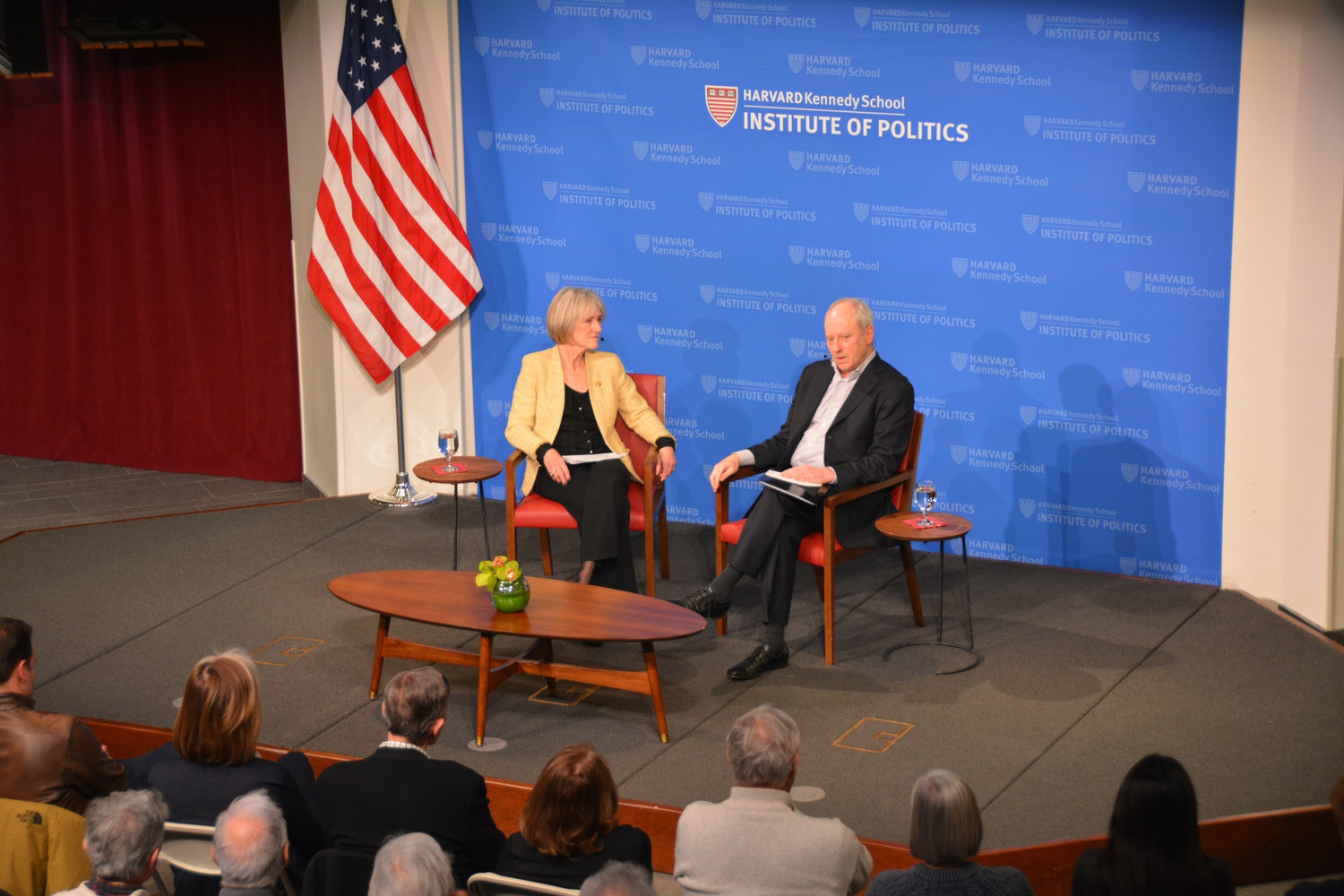 Professor Michael Sandel, Anne T. and Robert M. Bass Professor of Government, and Shorenstein Center Fellow Gwyneth Williams discussed the competition of ideas in today's polarized environment at the Institute of Politics Thursday evening.