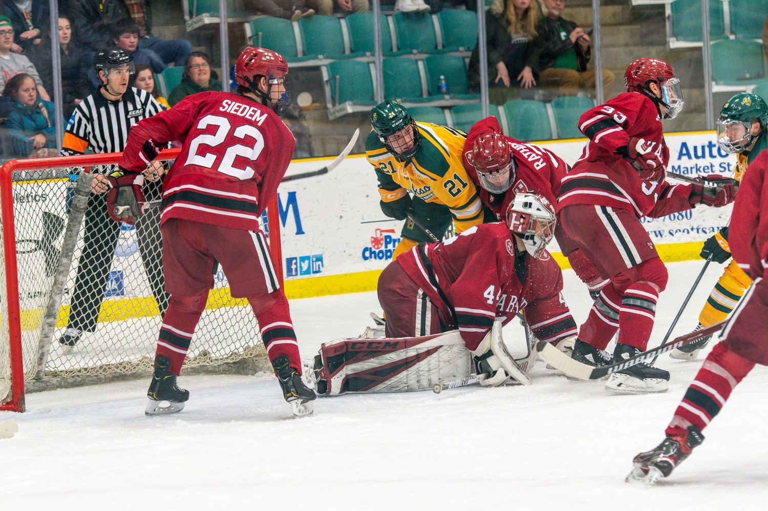 The Crimson skated past the Golden Knights in a statement win — the program's first victory over a top-5 foe in three seasons.