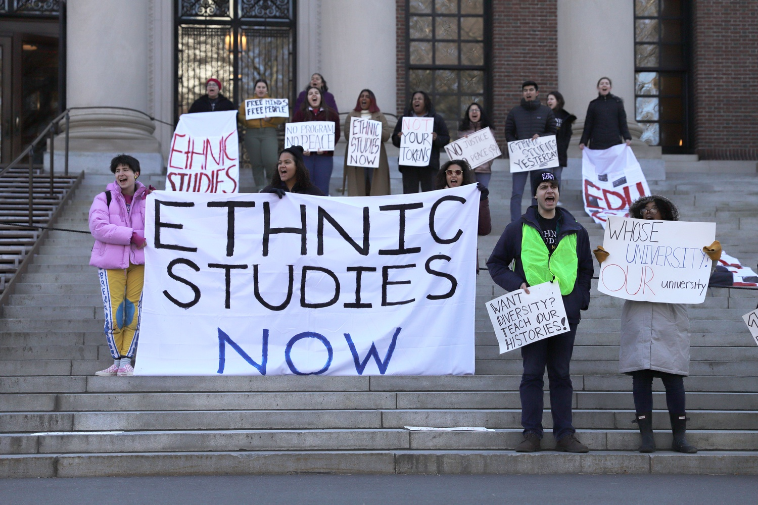 Students protesting on the steps of Widener Library demand that Harvard creates an Ethnic Studies department and multicultural center. A series of organized protests occurred throughout Junior Family Weekend.