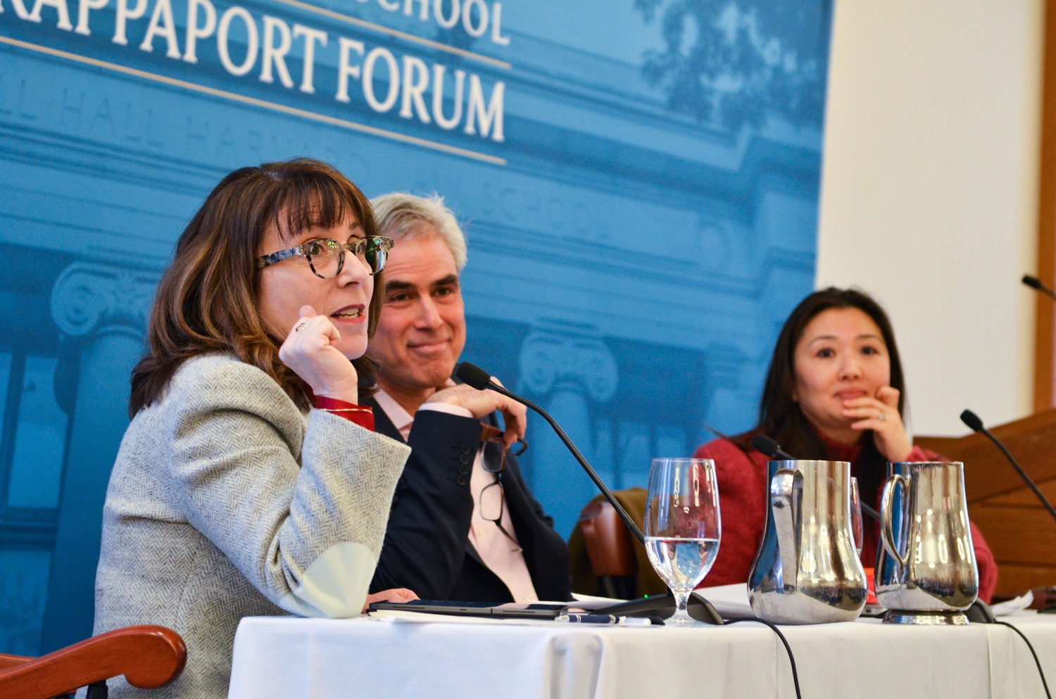 Lisa Feldman Barrett, Professor of Psychology at Northeastern University, discussed campus speech at the inaugural event of the Harvard Law School Rappaport Forum Friday with Jonathan Haidt, Professor of Ethical Leadership at NYU Stern School of Business.