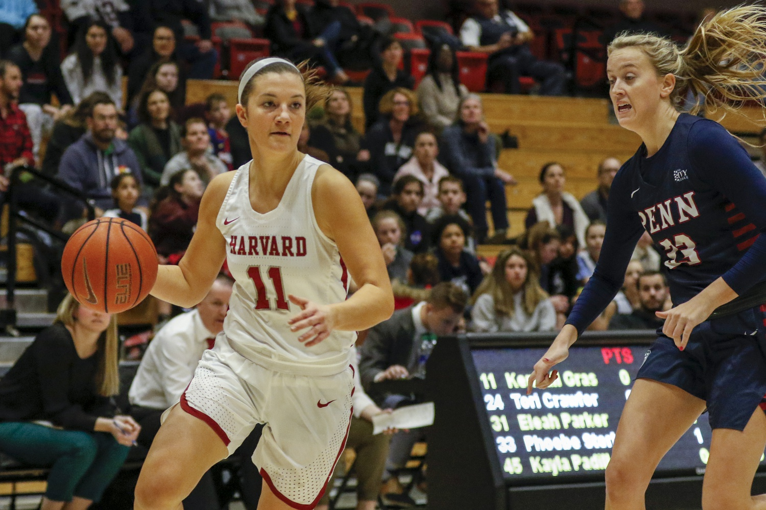 Sophomore Maggie McCarthy drives to the hoop against Penn in the first meeting between the two. Head coach Kathy Delaney-Smith wants the guard to shoot the ball more in the future.