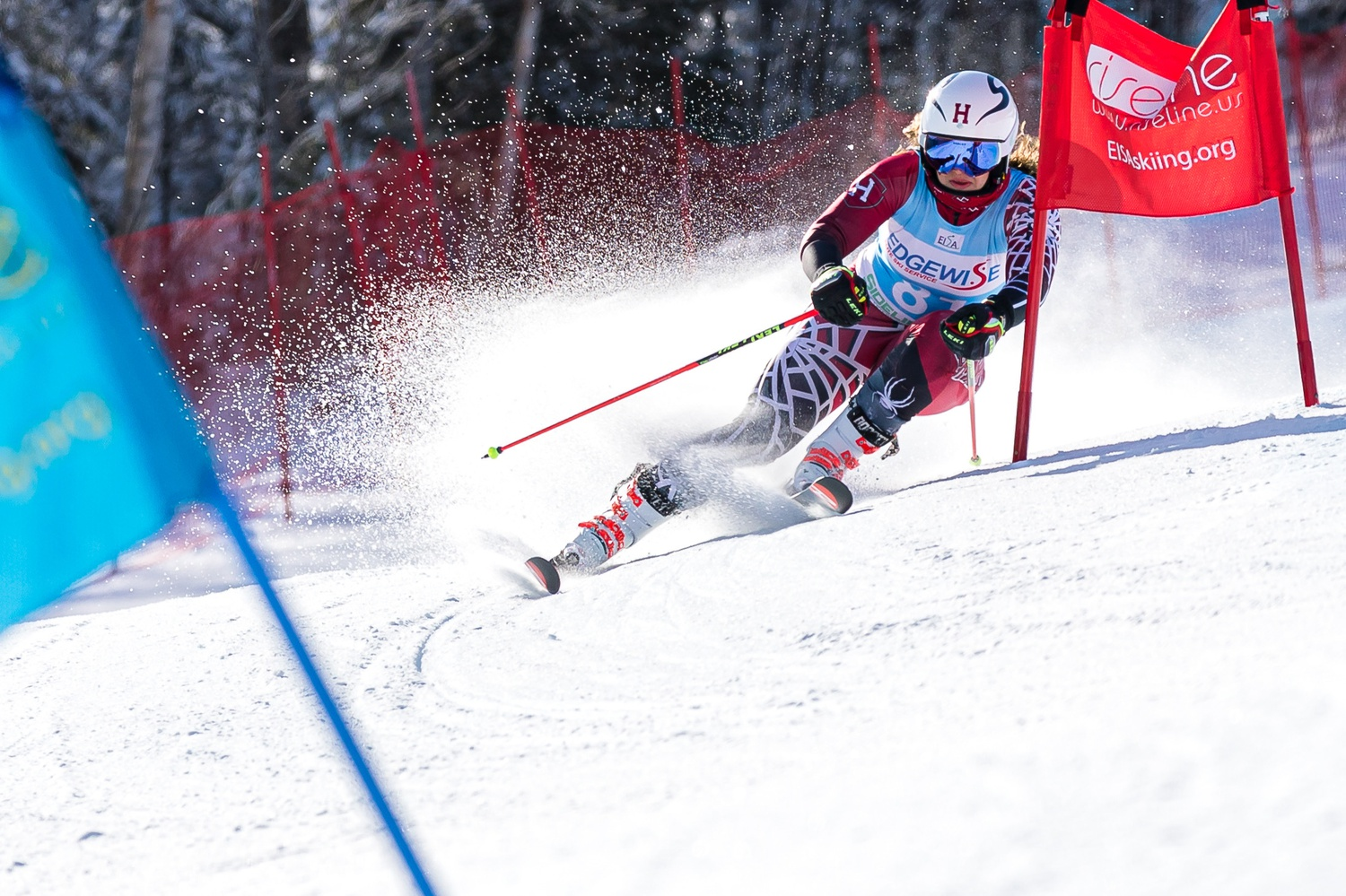 Senior Alpine skier Courtney Clark competes at this season's Bates Carnival, contributing to the team's 8th-place finish.