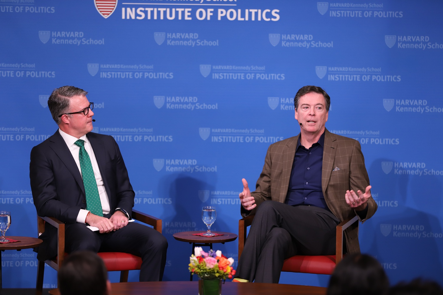 James Comey, former Director of the Federal Bureau of Investigation, discusses his career with Eric Rosenbach, co-director of the Harvard Kennedy School's Belfer Center, Monday night at the Institute of Politics.
