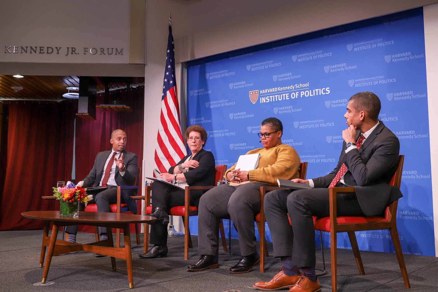 A panel of experts discusses the history and continuing challenges of racism in urban housing at an event at the Institute of Politics Tuesday evening.