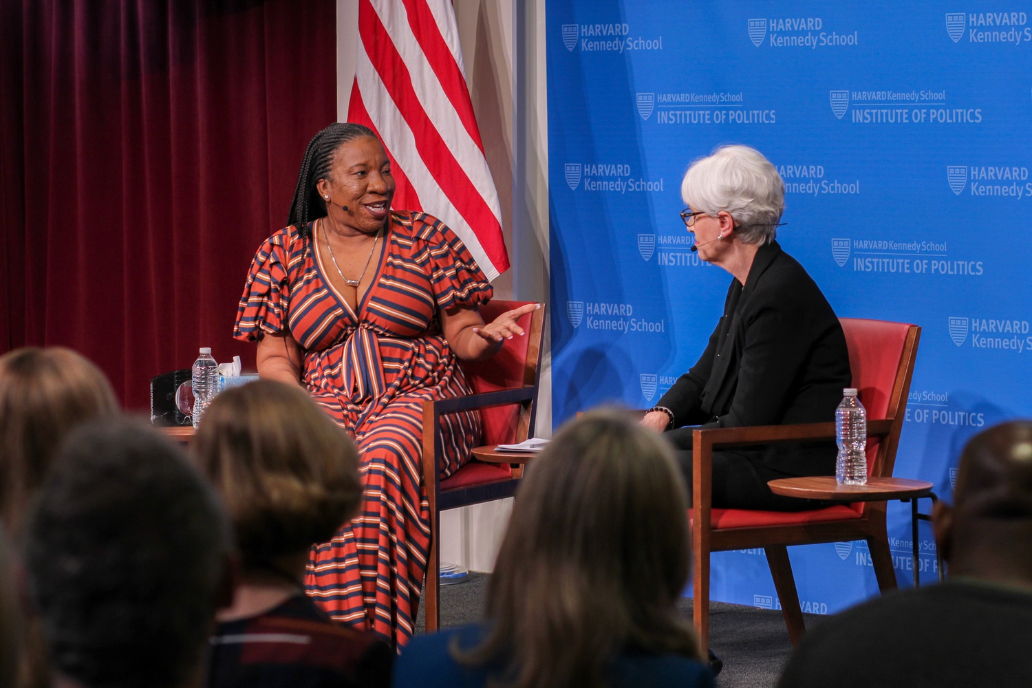 Tarana Burke, founder of the #MeToo movement, spoke Wednesday at the Institute of Politics.