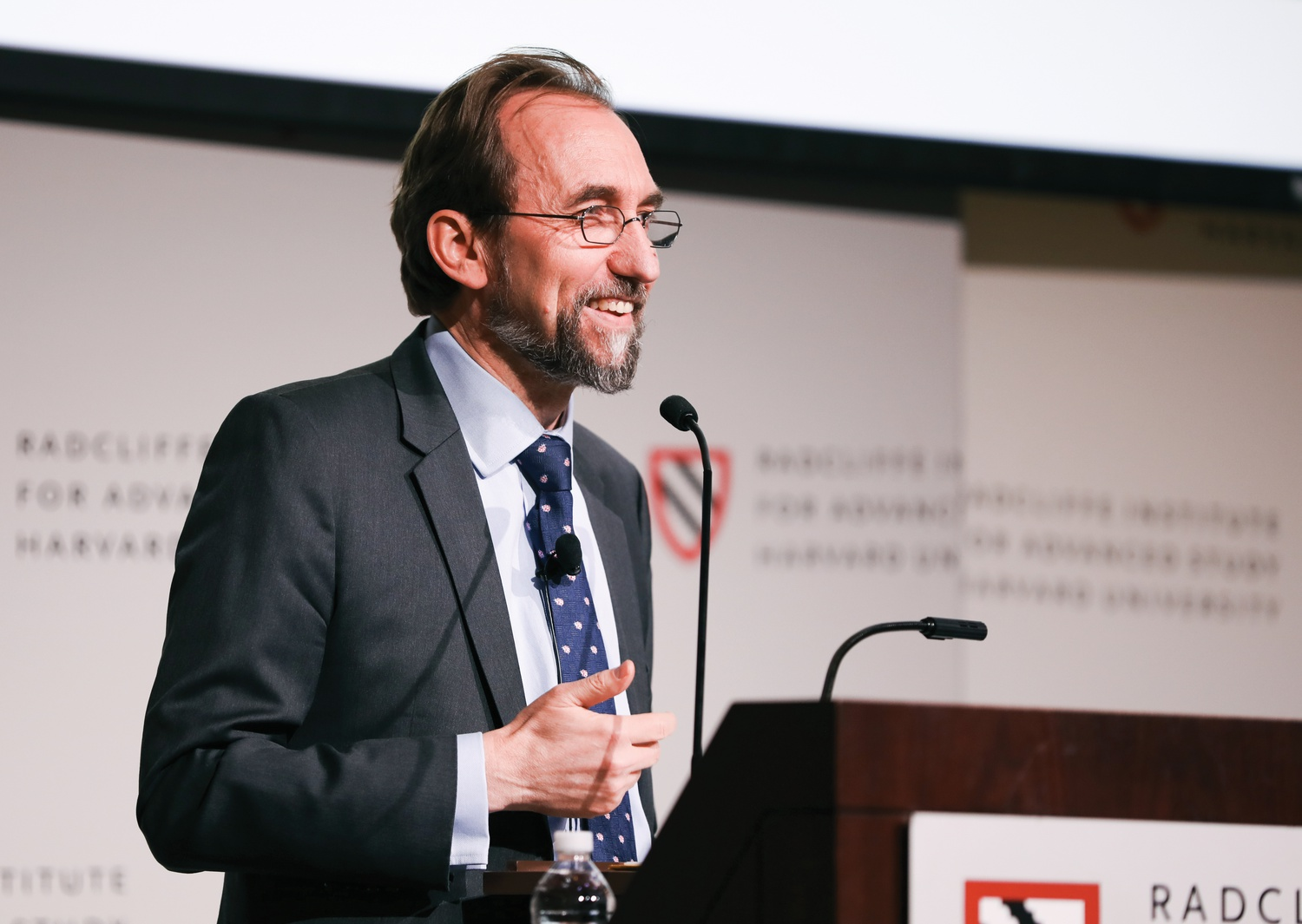 Zeid Ra'ad Al Hussein, a career diplomat and former United Nations High Commissioner for Human Rights, speaks about the current geopolitical environment at the Knafel Center Thursday.