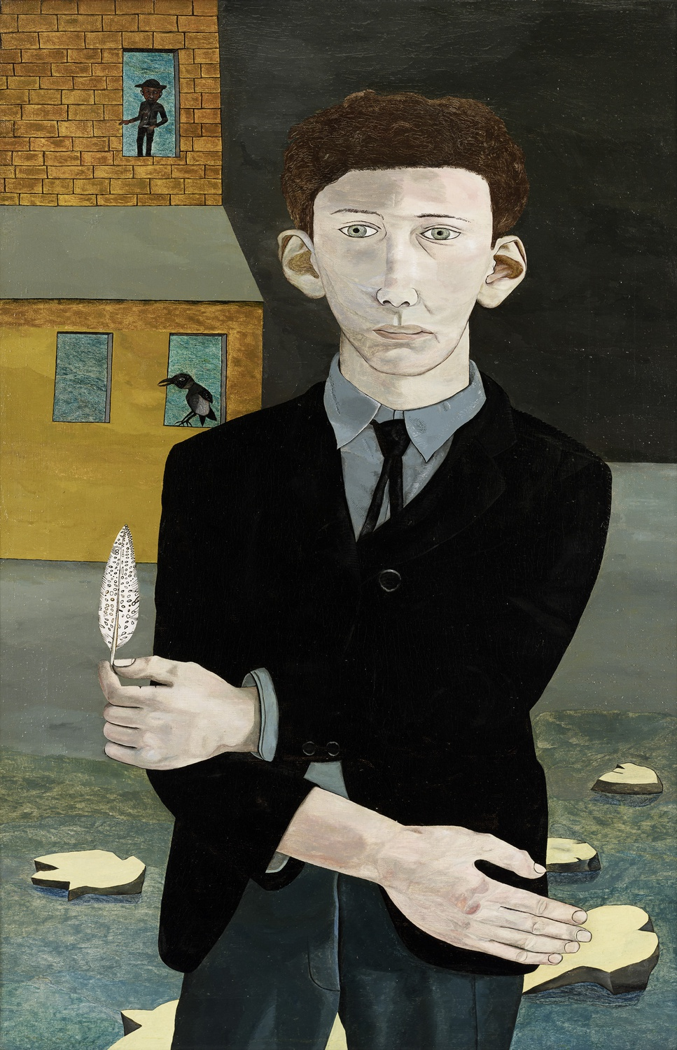 "Lucian Freud's 1943 self-portrait, ""Man with a Feather,"" exhibited at the Museum of Fine Arts, Boston."