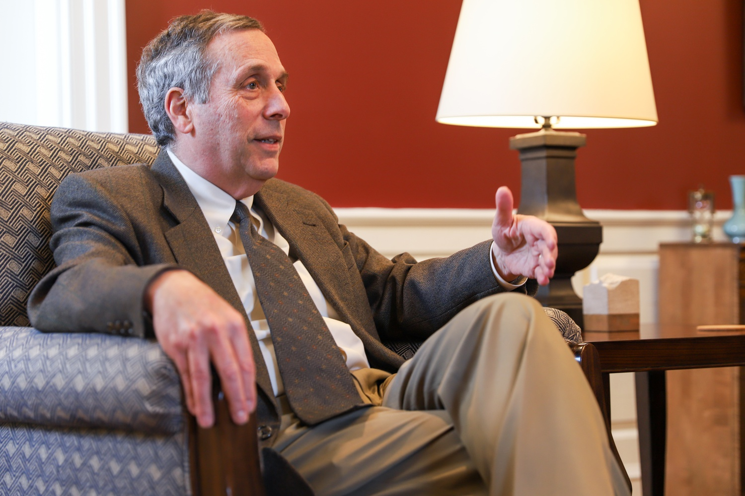 President Lawrence S. Bacow speaks about the recent federal charge against Chemistry department chair Charles M. Lieber in an interview on Monday.