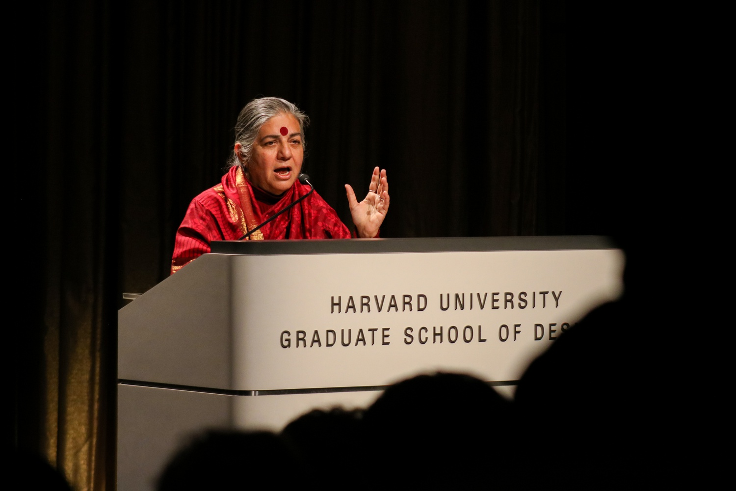 Dr. Vandana Shiva, an Indian scholar and environmental activist, spoke at the 2020 International Womxn's Day Lecture at the Harvard University Graduate School of Design.
