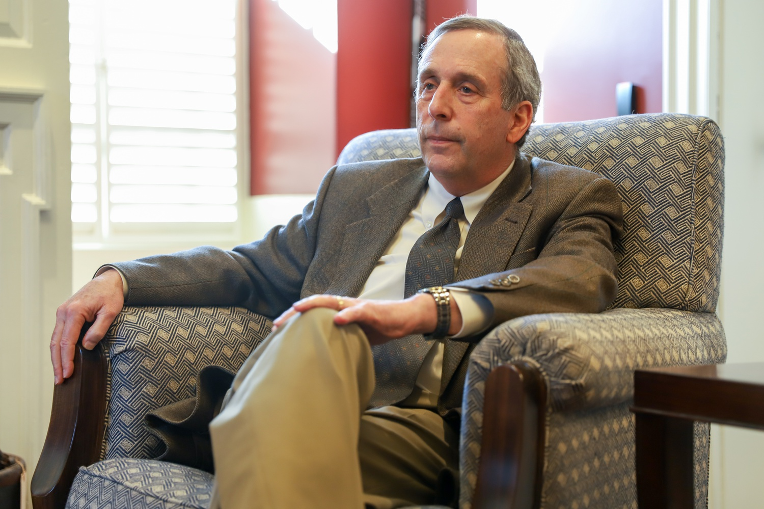 University President Lawrence S. Bacow answers questions in a March interview.