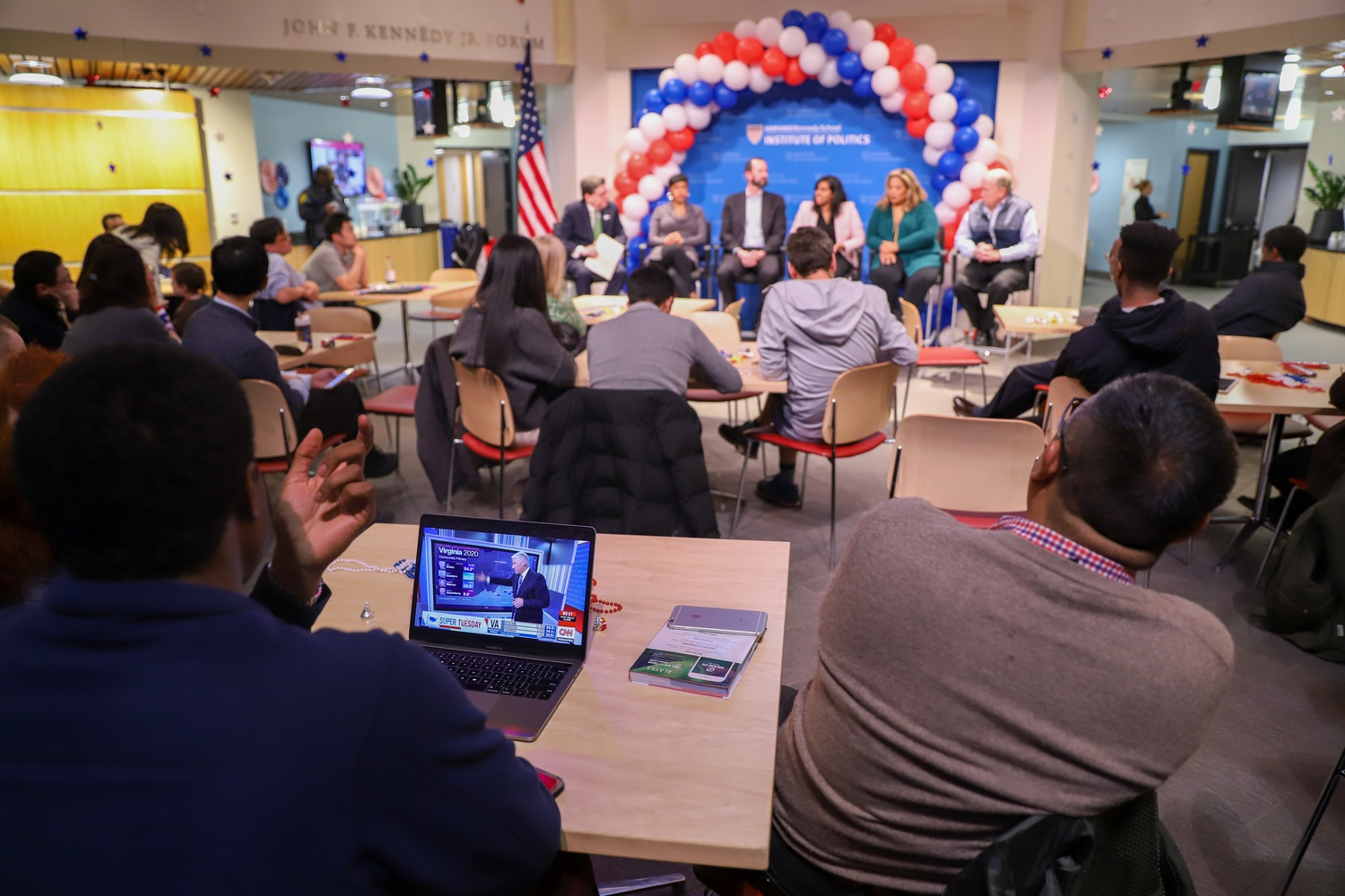 Students monitor Super Tuesday results during one of the final in-person Institute of Politics events prior to the pandemic in March 2020.