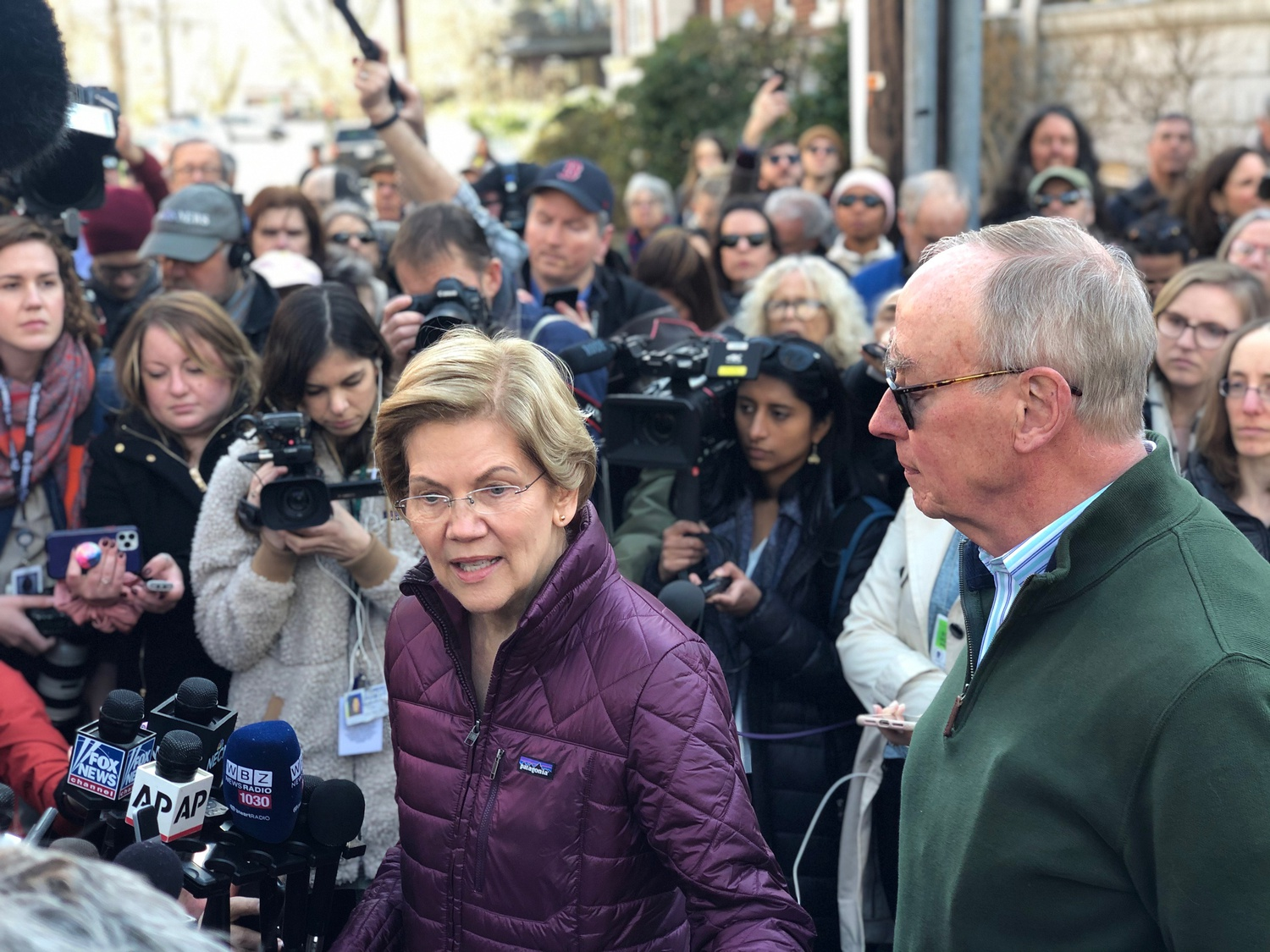 U.S. Senator Elizabeth Warren (D-Mass.) speaks at a Cambridge press conference following her announcement that she would suspend her bid for the presidency.