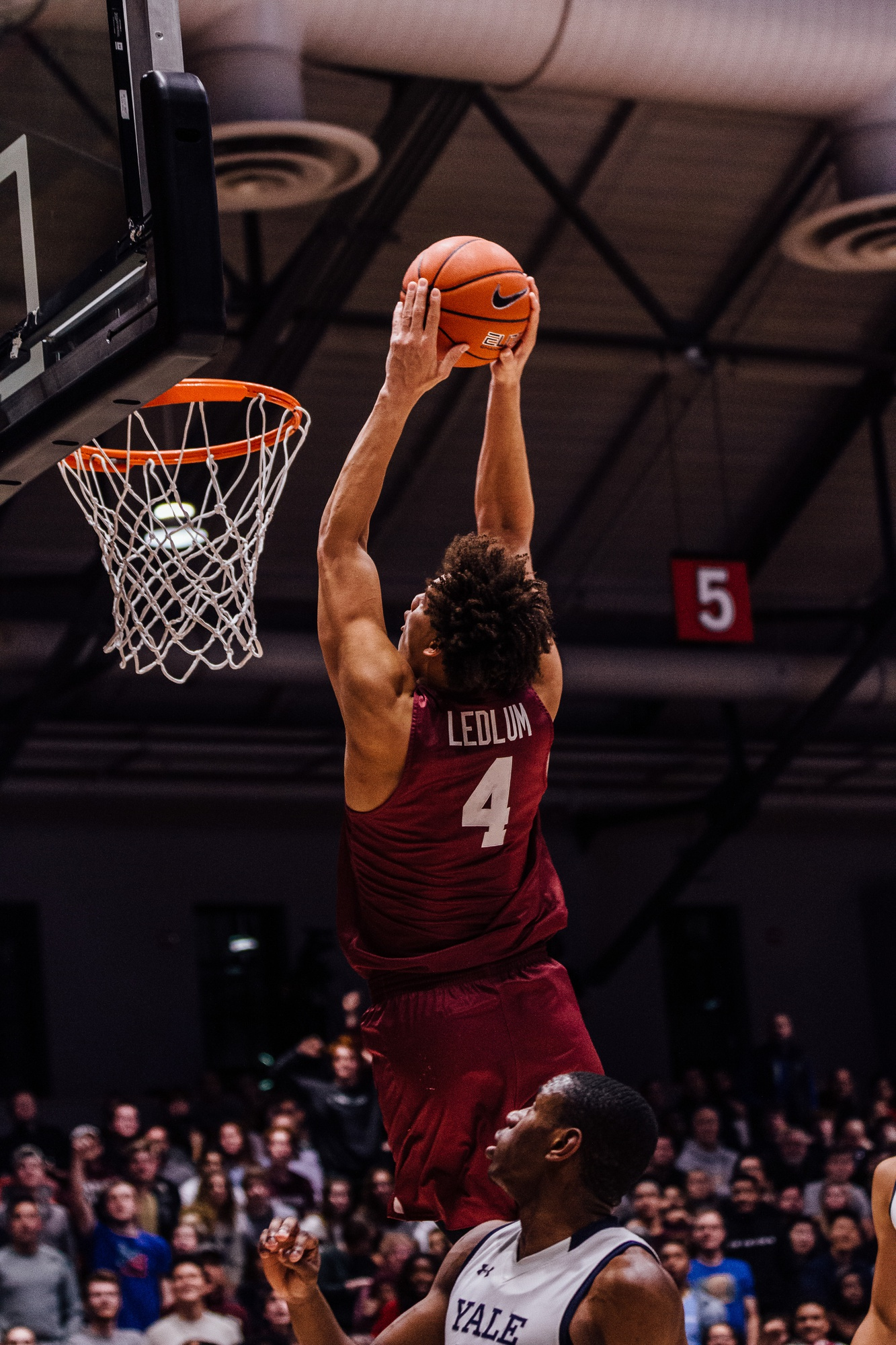 First-year Chris Ledlum electrified the crowd with a 360-degree dunk in Saturday night's win over Yale.