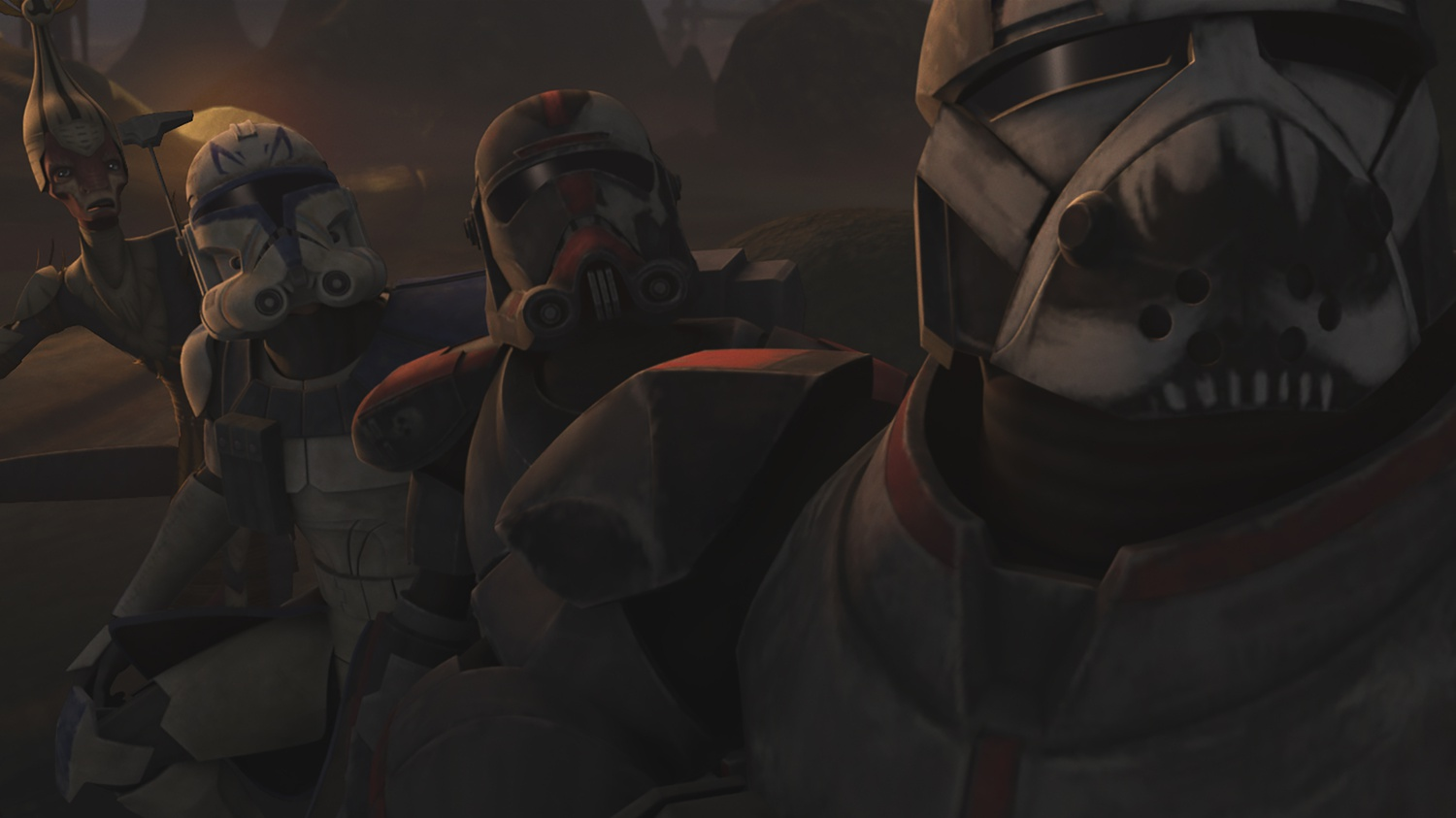 The Clones help defend native people against a droid attack.