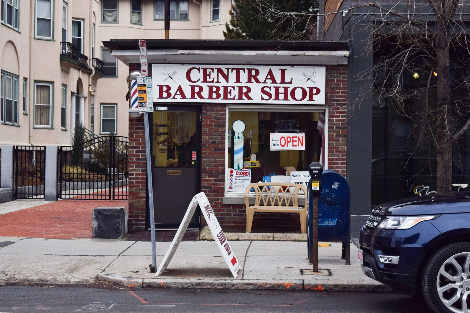 Central Barber Shop is located on Mass Ave. and is often frequented by Harvard Law School students due to its proximity to the Law School.